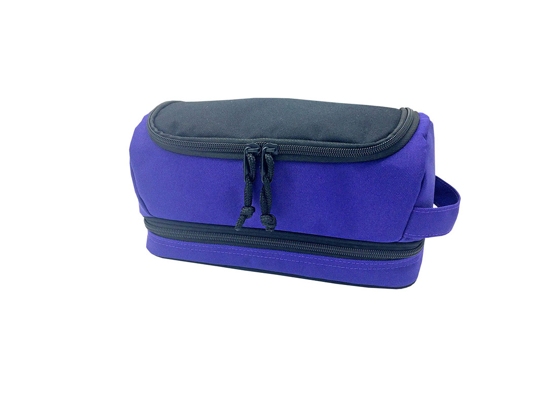Two compartment toiletry bag in purple blue