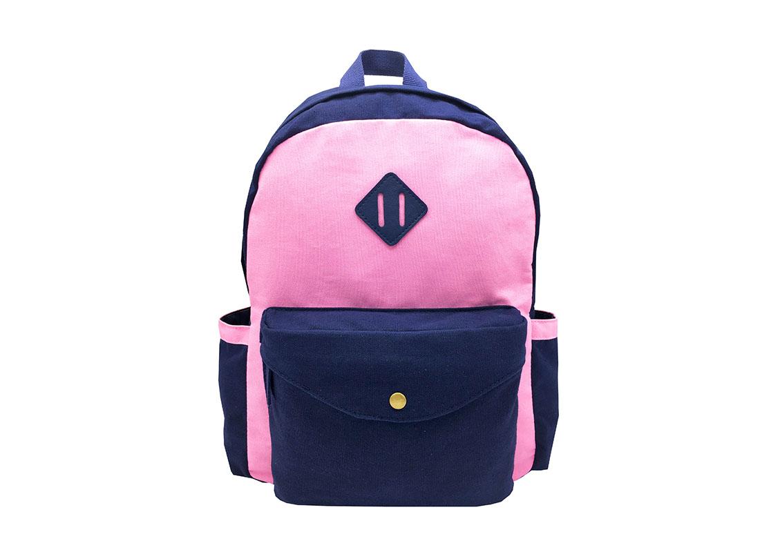 Canvas backpack in pink & dark blue
