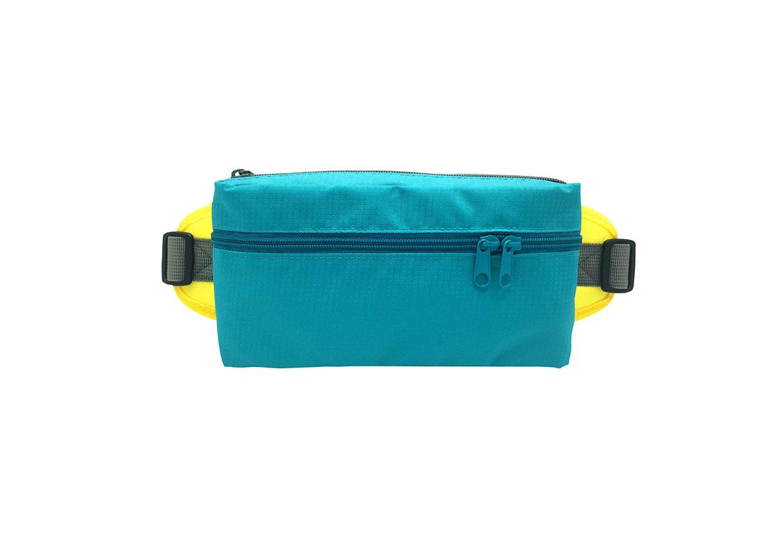 Rectangular shape waist bag in acqua
