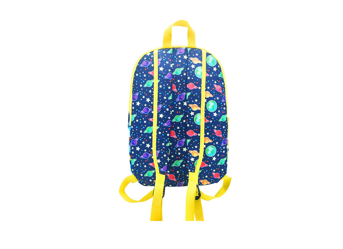 Children backpack with spaceship printing back