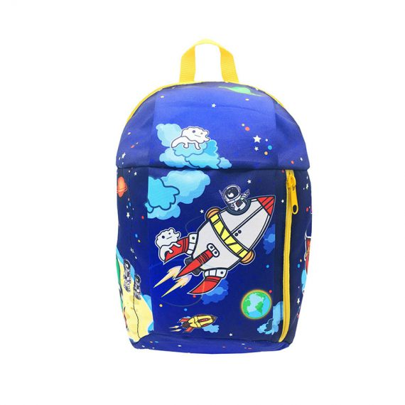 children backpack with spaceship printing