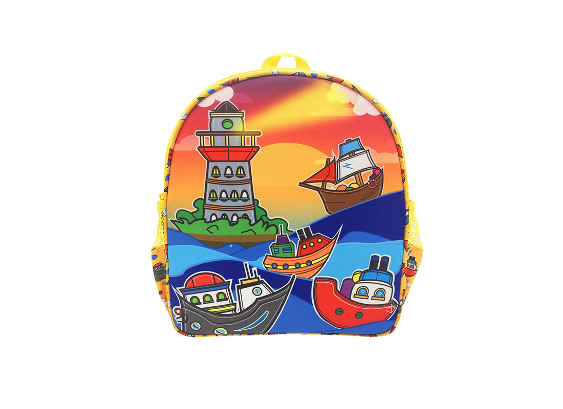 Children backpack with ship printing