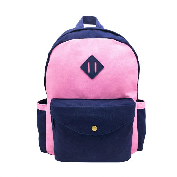 Canvas backpack in pink & dark blue