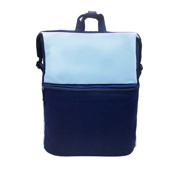 Two way Canvas backpack in light & dark blue
