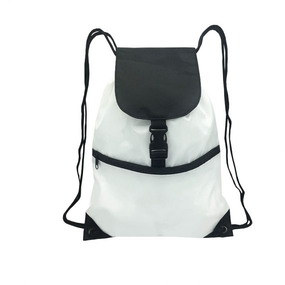 Drawstring bag with front zipper pocket in white