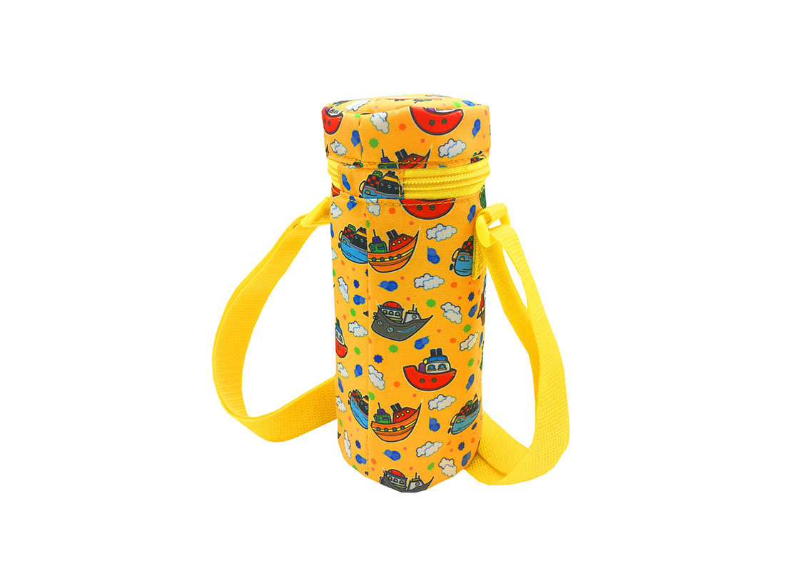 Children water bottle holder with ship print back