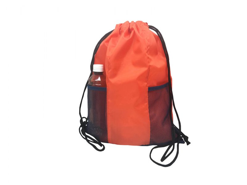 Drawstring bag with two mesh side pocket in orange