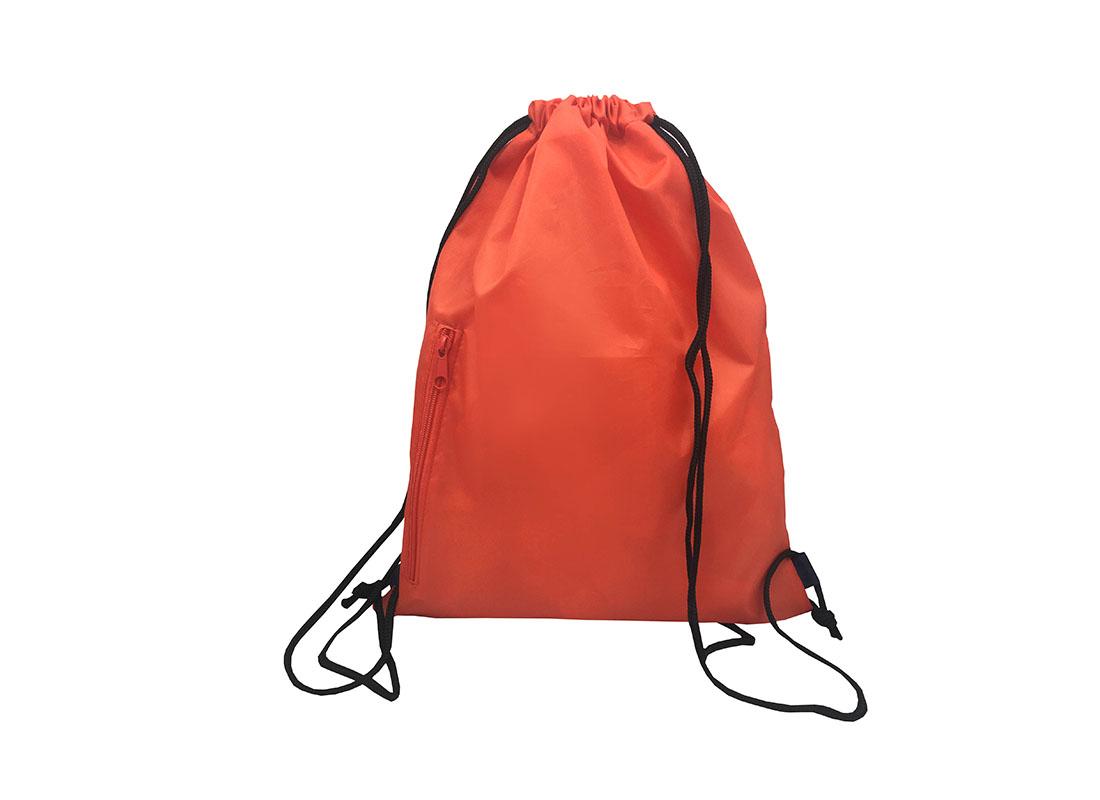 drawstring bag with two mesh side pocket in orange back