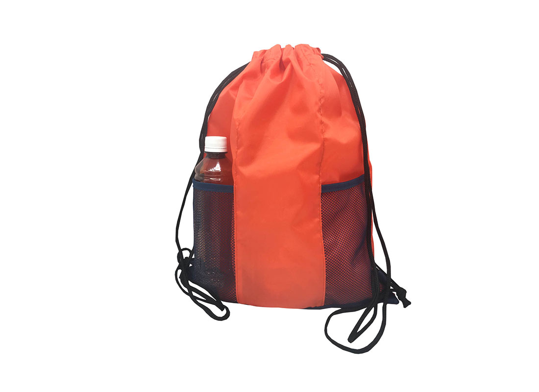 Drawstring bag with two mesh side pocket in orange