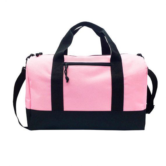 small duffel bag in pink