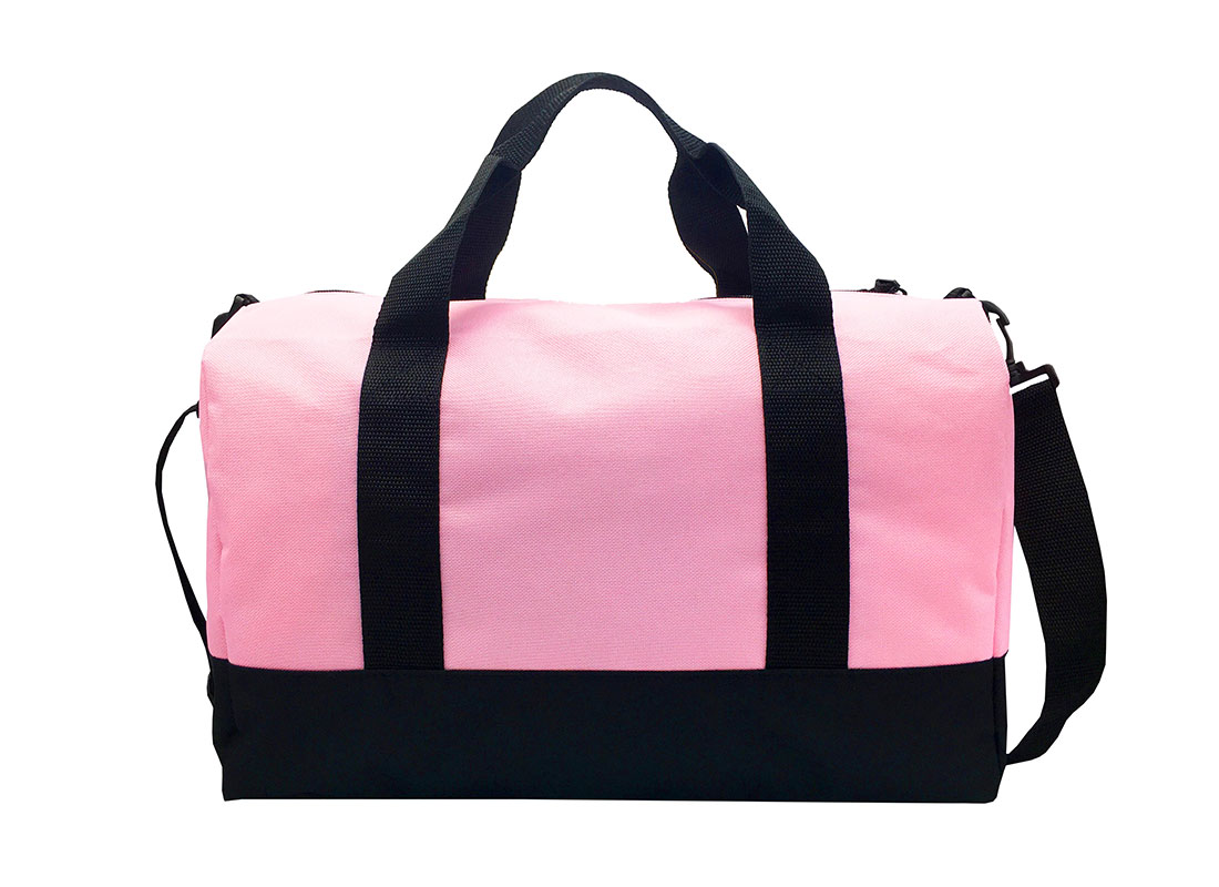 small duffel bag in pink back