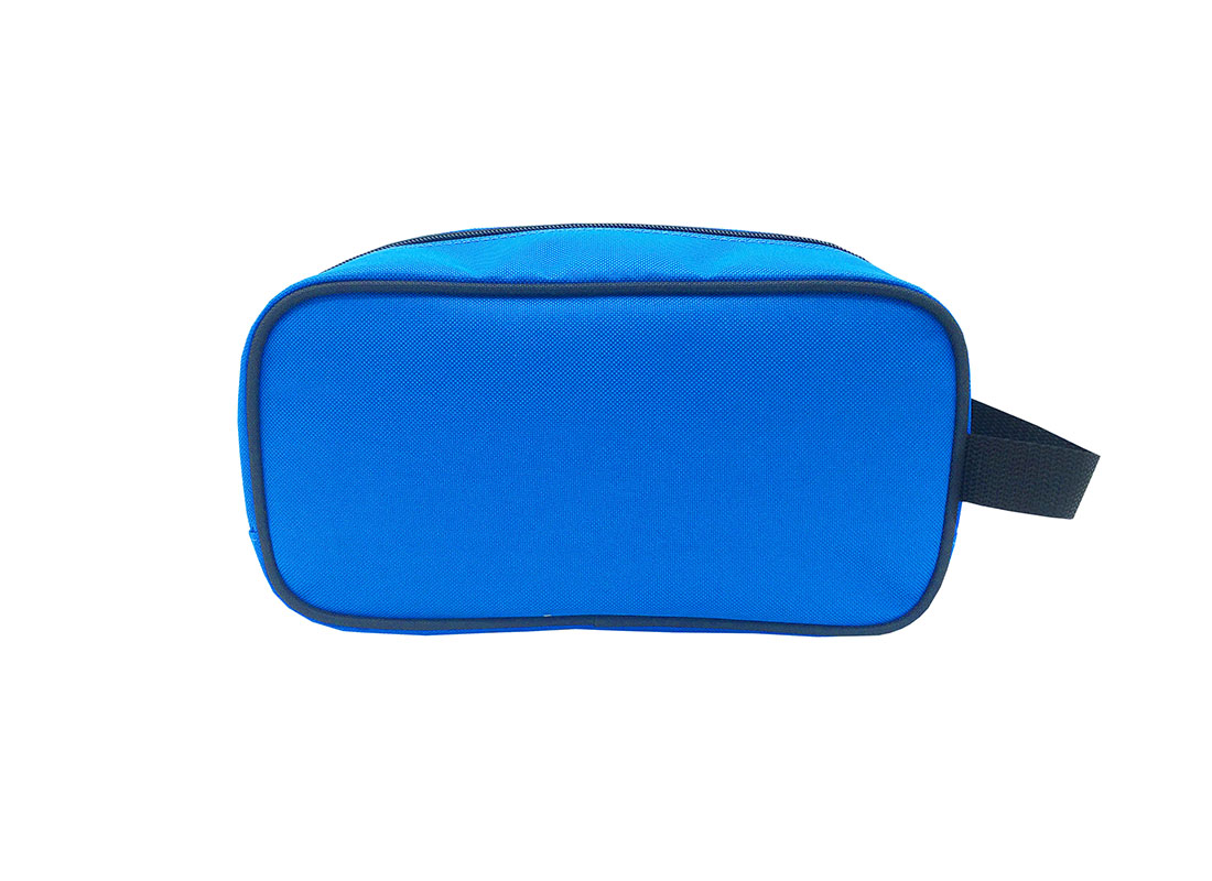 small toiletry bag in blue back