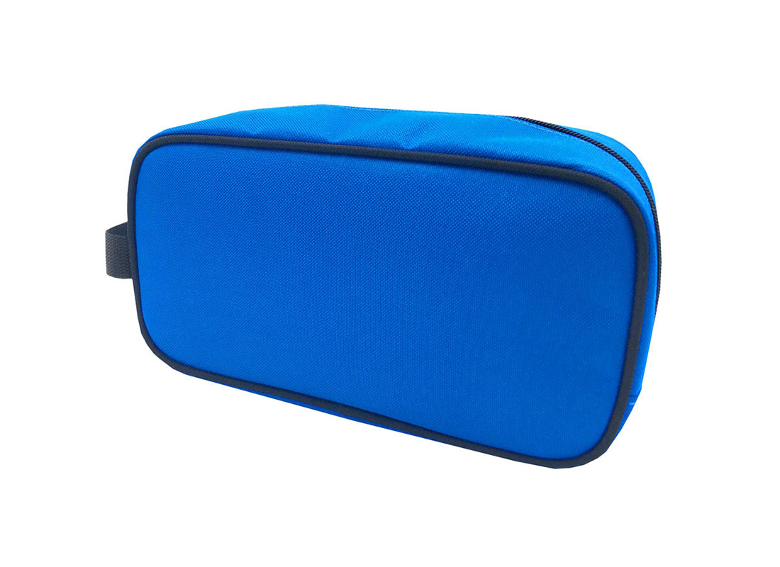 small toiletry bag in blue R side
