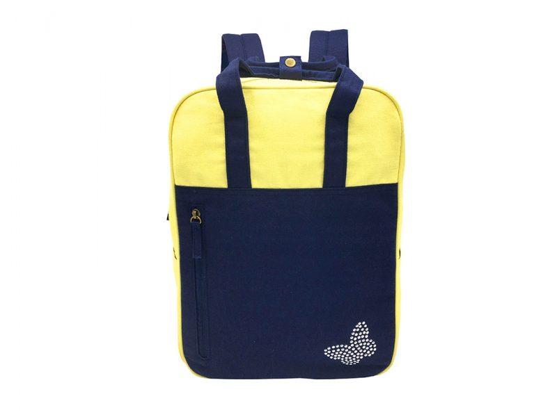 Canvas backpack in yellow & dark blue