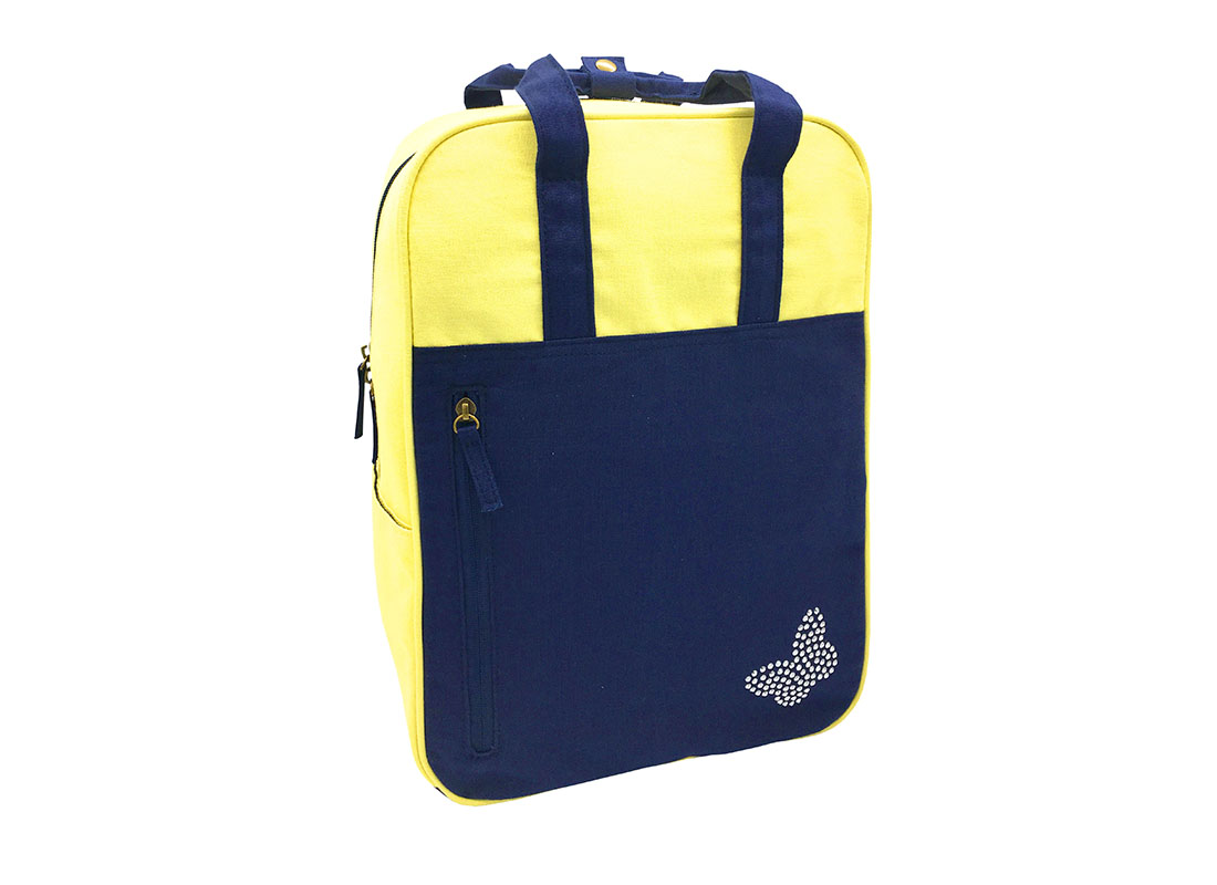 Canvas backpack in yellow & dark blue side