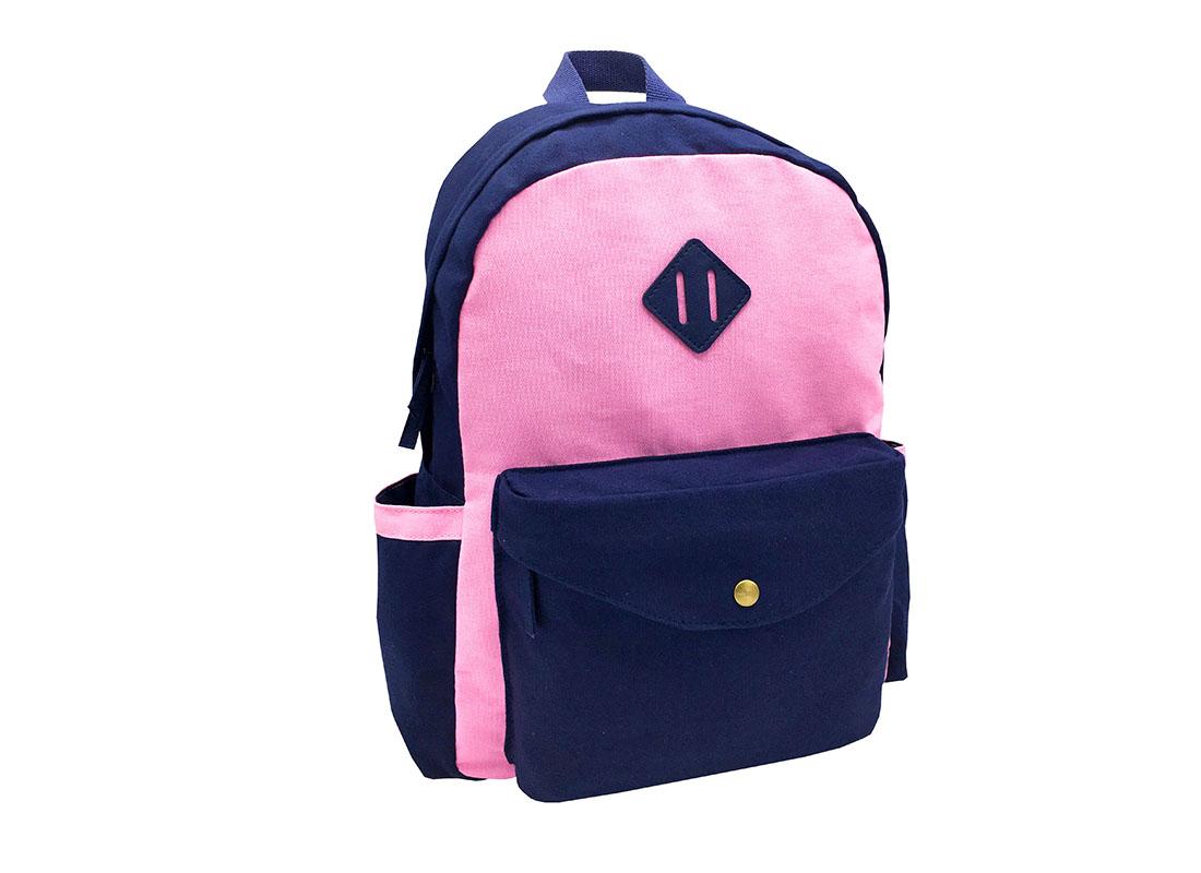 canvas backpack in pink & dark blue side