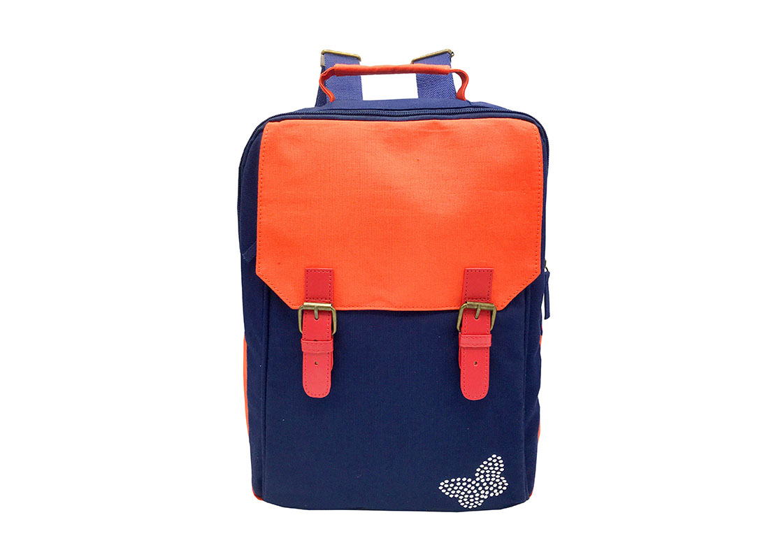 Canvas backpack in dark blue with orange flap front