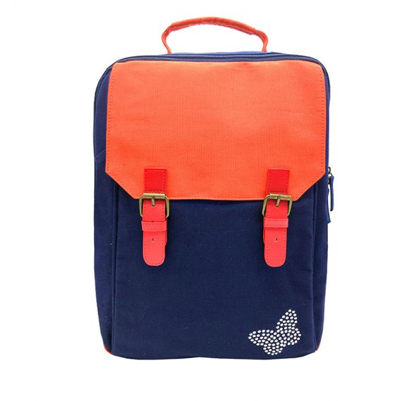 Canvas backpack in dark blue with orange flap
