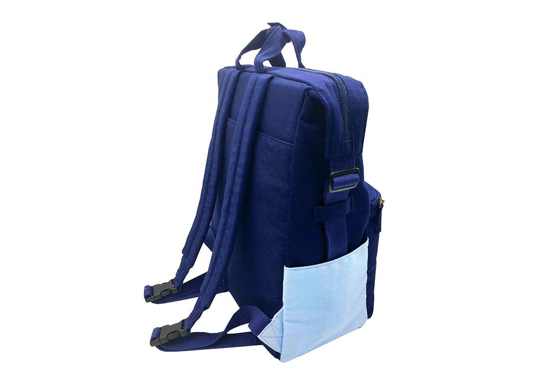 Two way Canvas backpack in light & dark blue back side