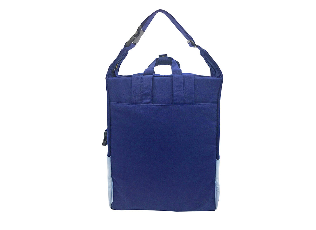 Two way canvas backpack in light & dark blue back 1