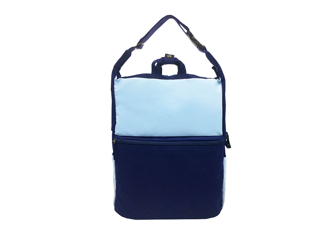 Two way canvas backpack in light & dark blue front1