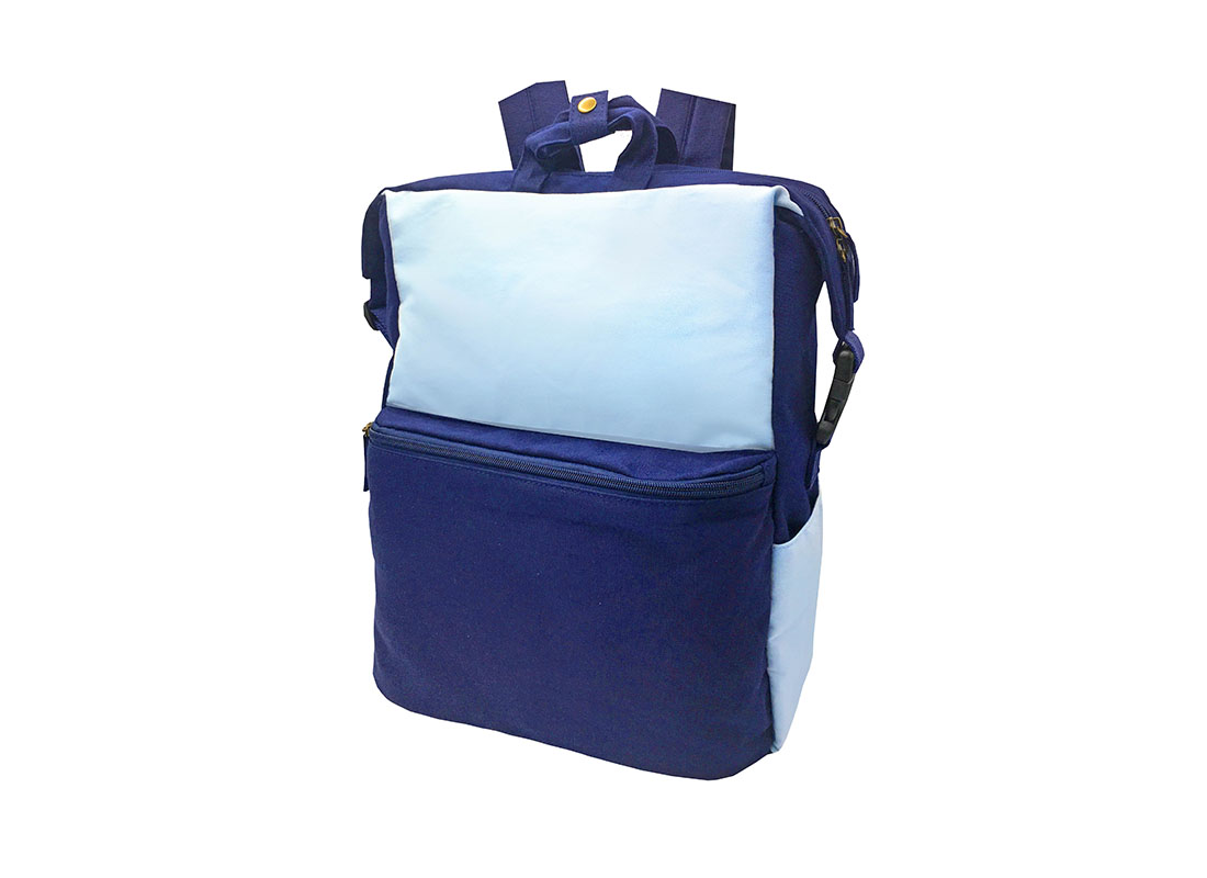 Two Way canvas backpack in light & dark blue - side1