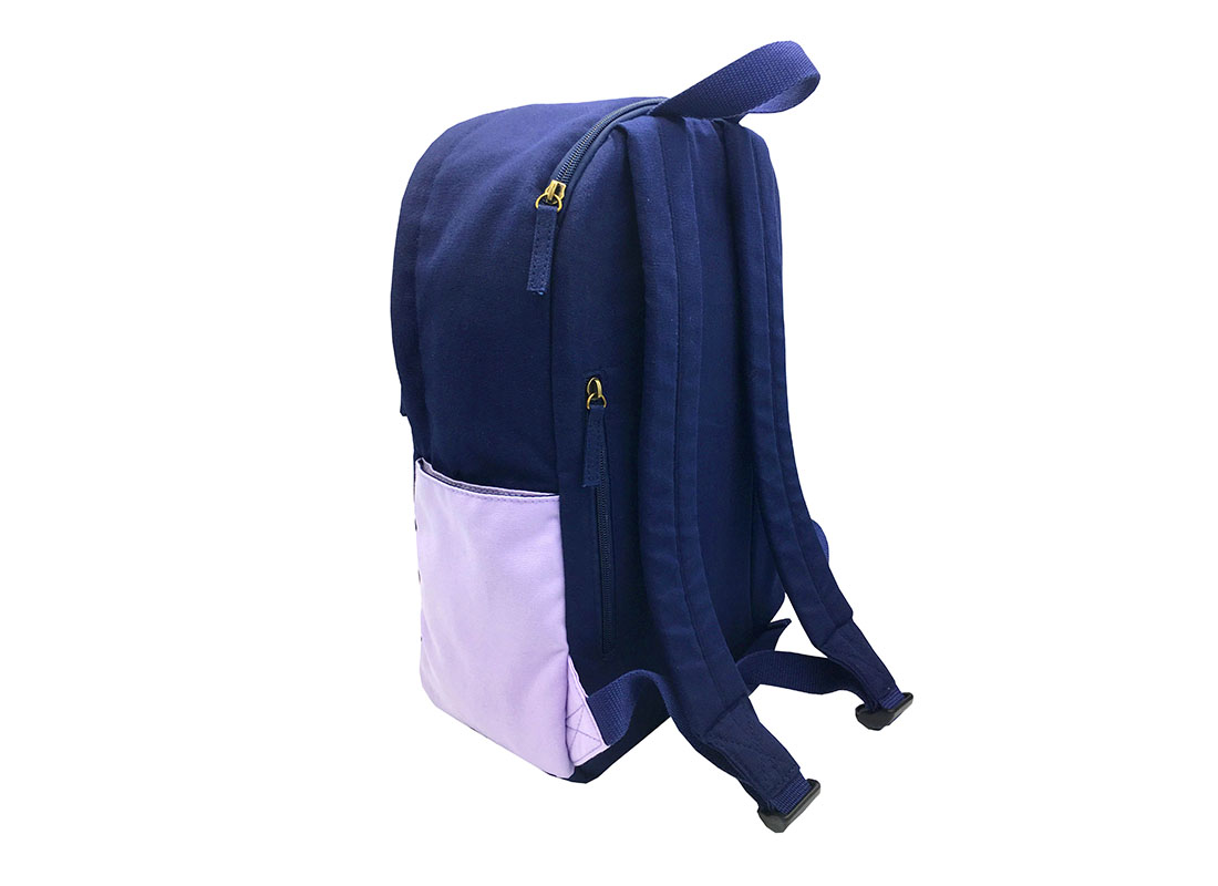 canvas backpack in purple & blue side back