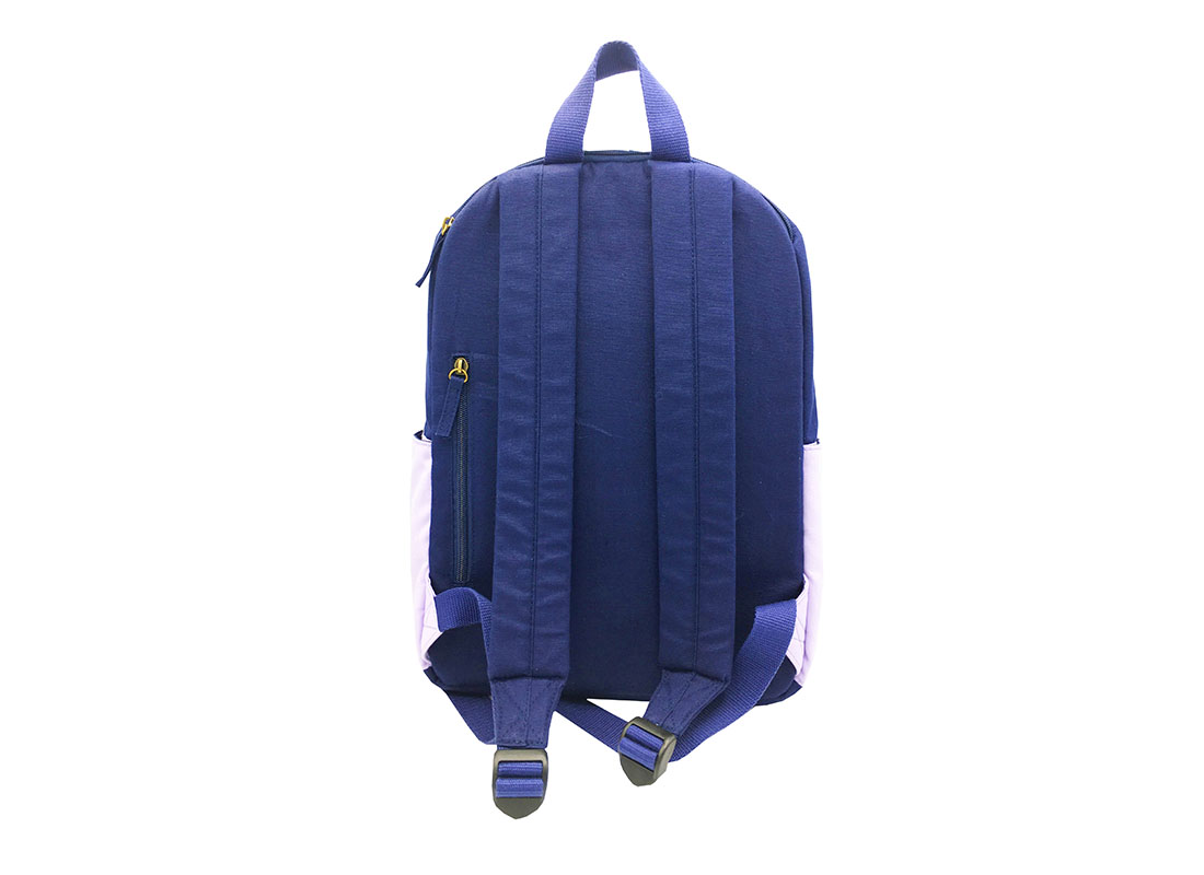 canvas backpack in purple & blue back