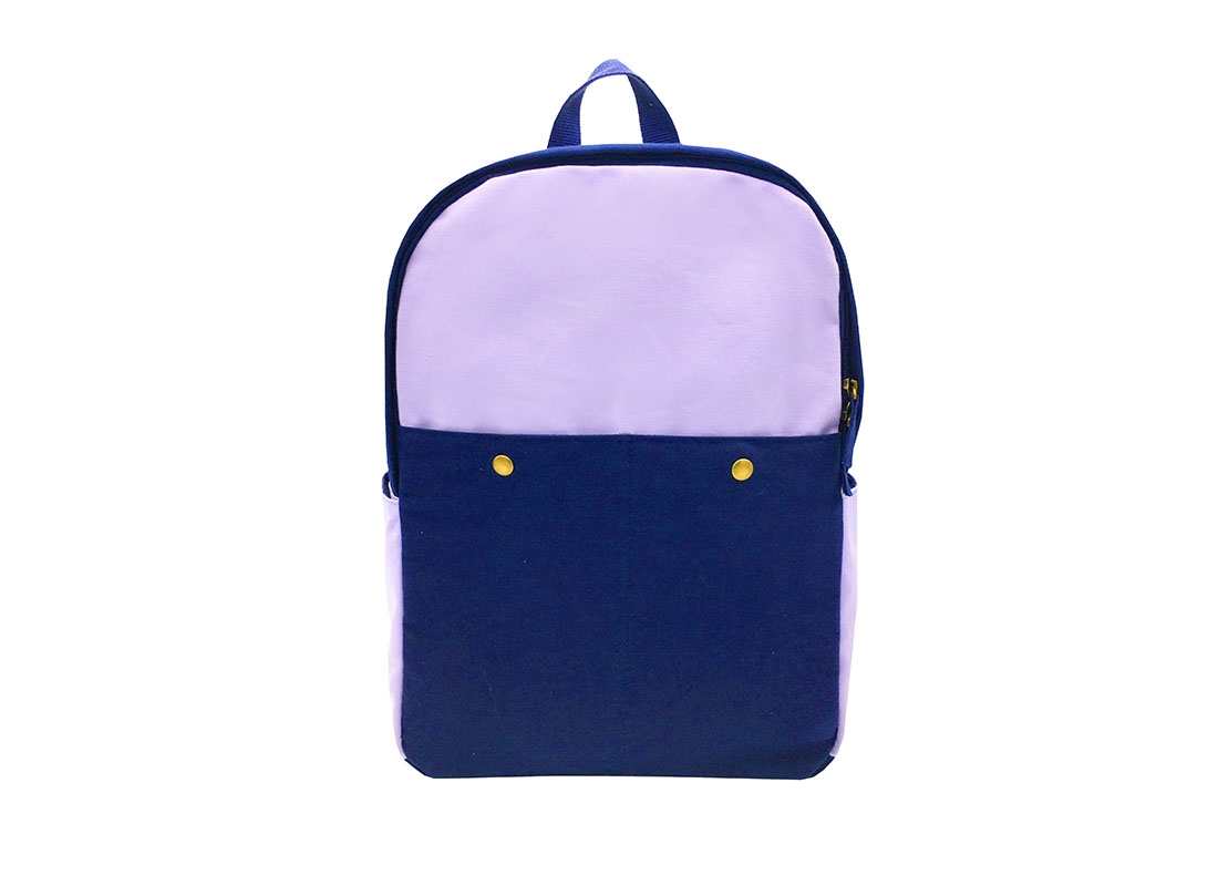 Canvas backpack in purple & blue front