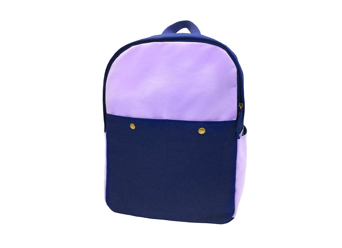 canvas backpack in purple & blue side