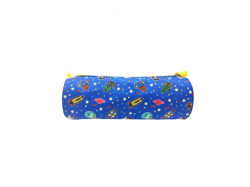 Round Shape pencil case with spaceship print