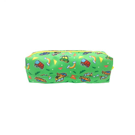 Square shape pencil case with car print