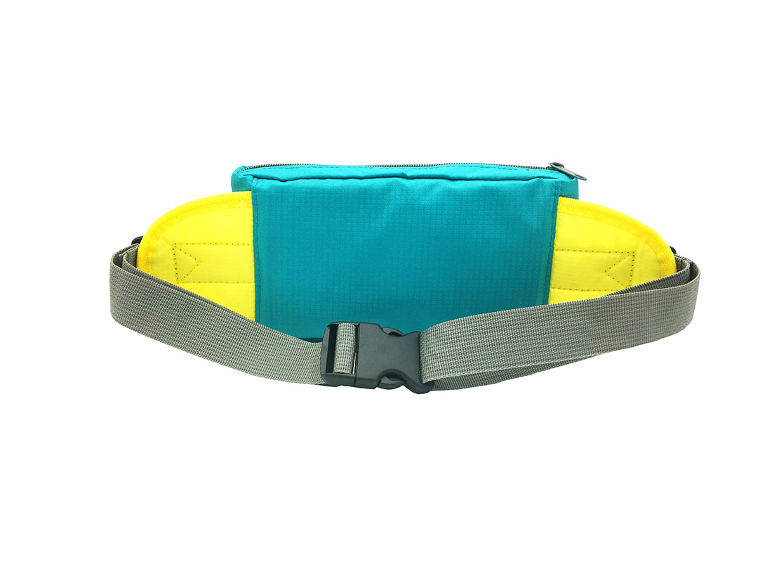 Rectangular shape waist bag in acqua back