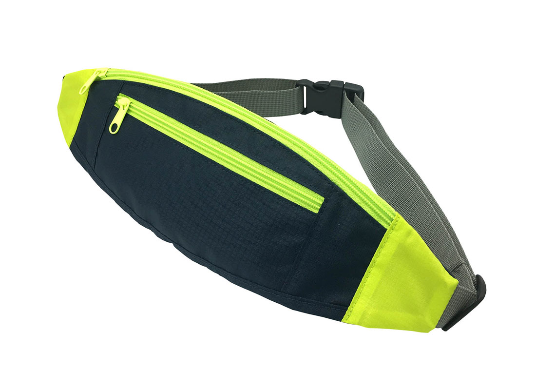 small sporty waist bag in neon green side