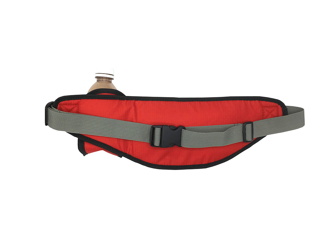 sporty waist bag with small water bottle holder in red back