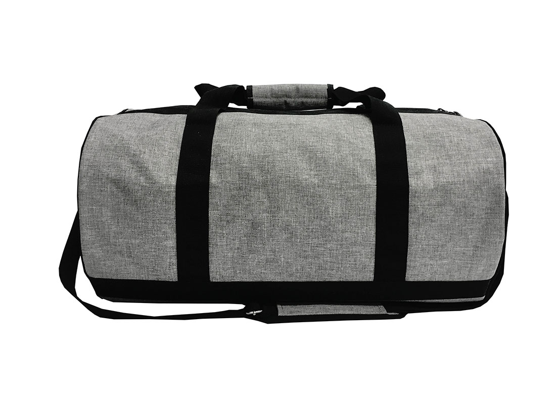 weekender duffel bag in grey back