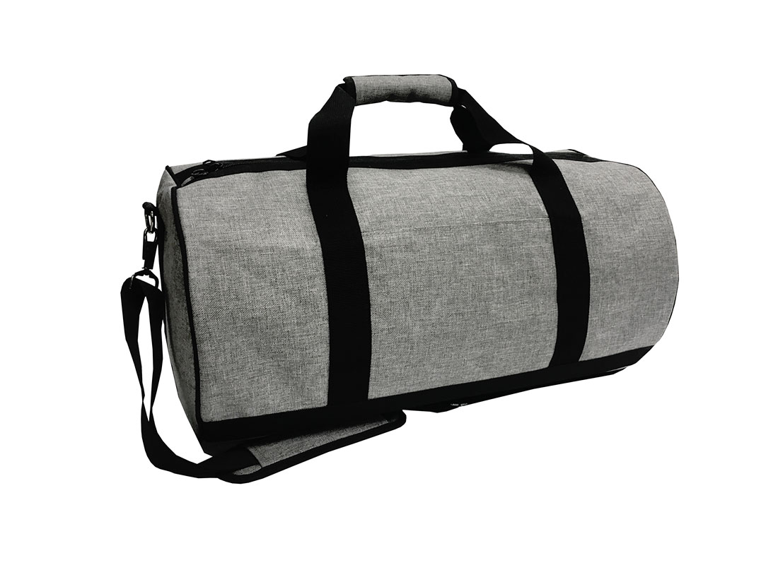 weekender duffel bag in grey L side