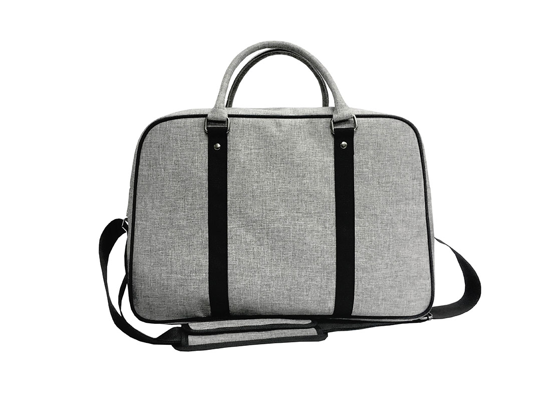 weekender bag in grey back