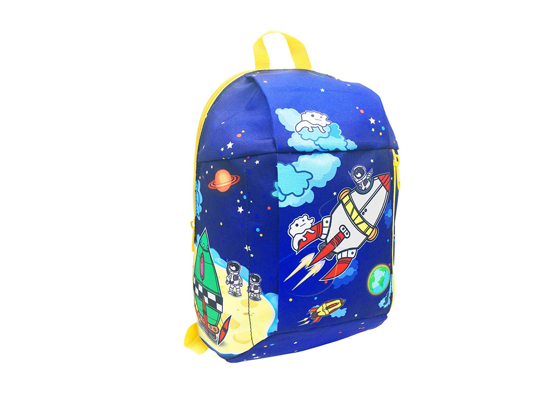 children backpack with spaceship printing L side