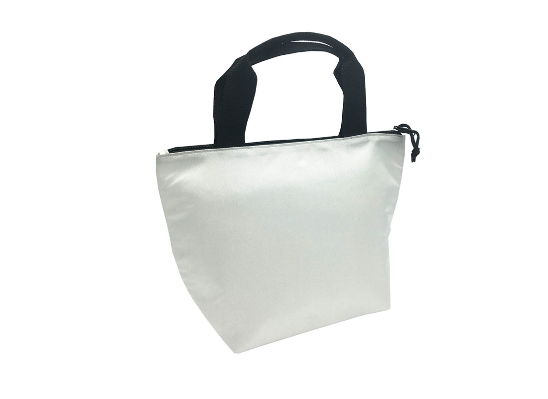 Tote bag style cooler bag in white - L side