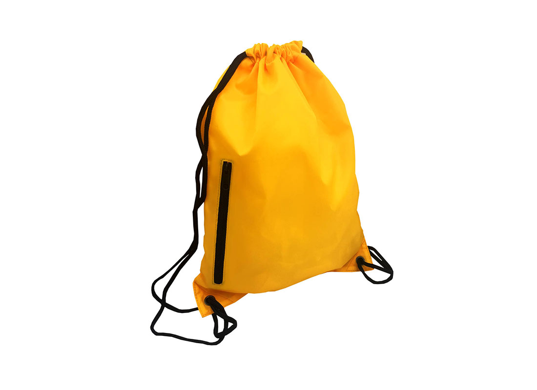 drawstring bag with back zipper pocket in yellow orange back