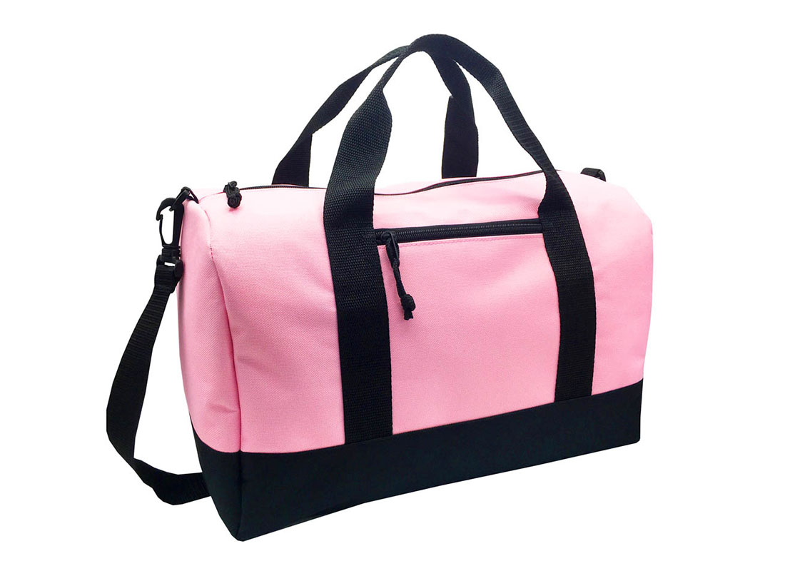 small duffel bag in pink L side