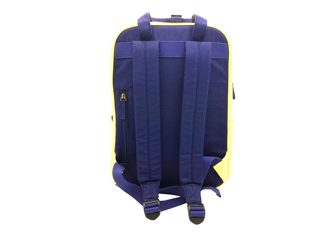 canvas backpack in yellow & dark blue back