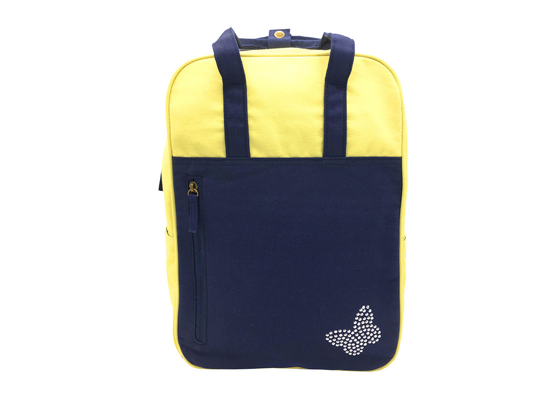 Canvas backpack in yellow & dark blue front