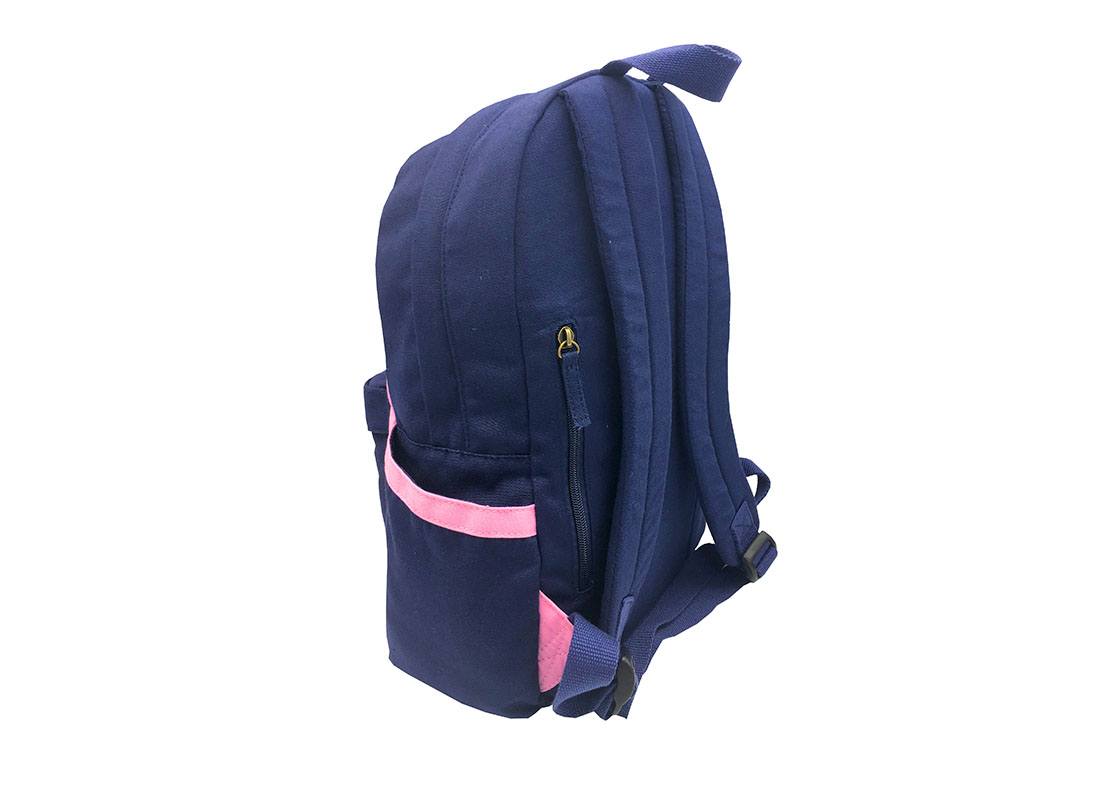 canvas backpack in pink & dark blue back