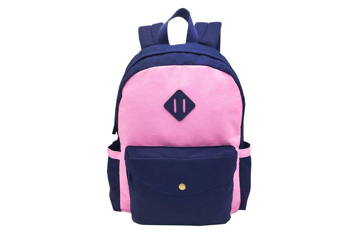 Canvas backpack in pink & dark blue front