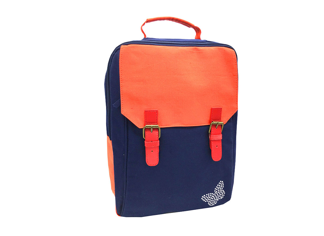 Canvas backpack in dark blue with orange flap side