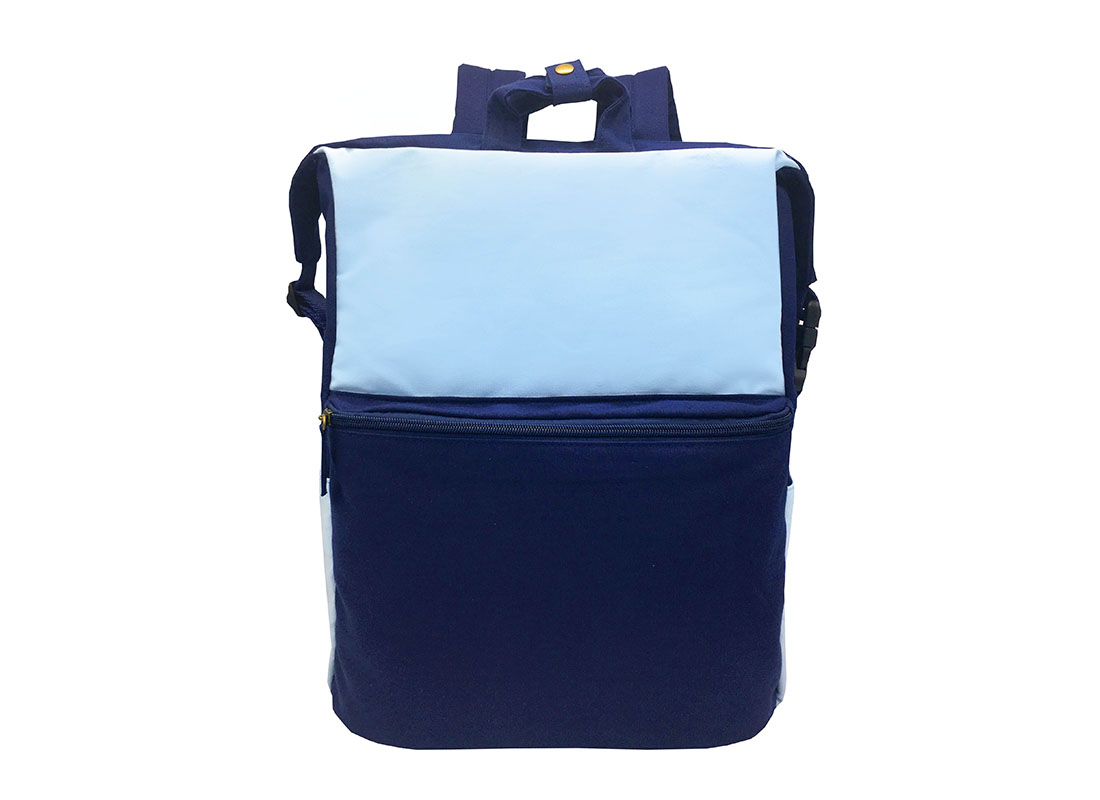 Two Way canvas backpack in light & dark blue front