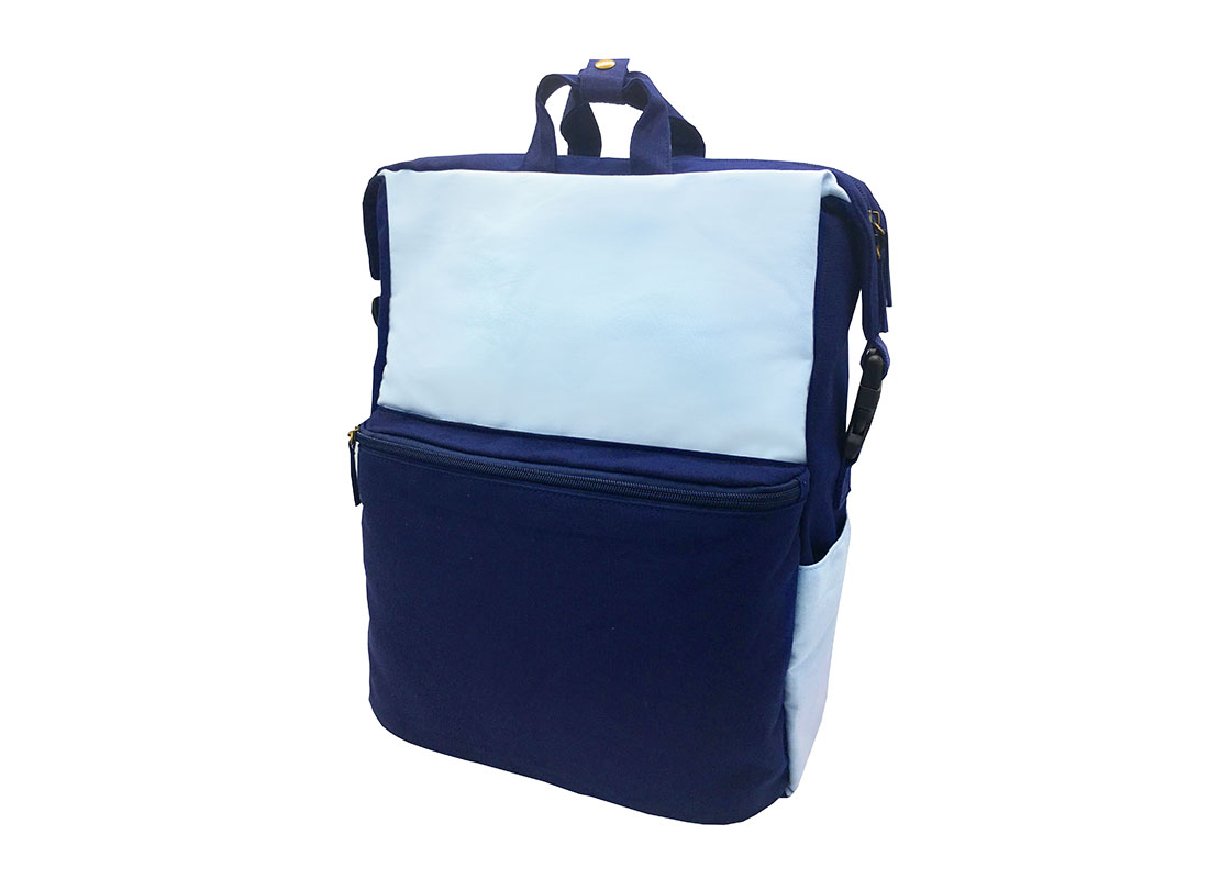 Two way canvas backpack in light & dark blue side