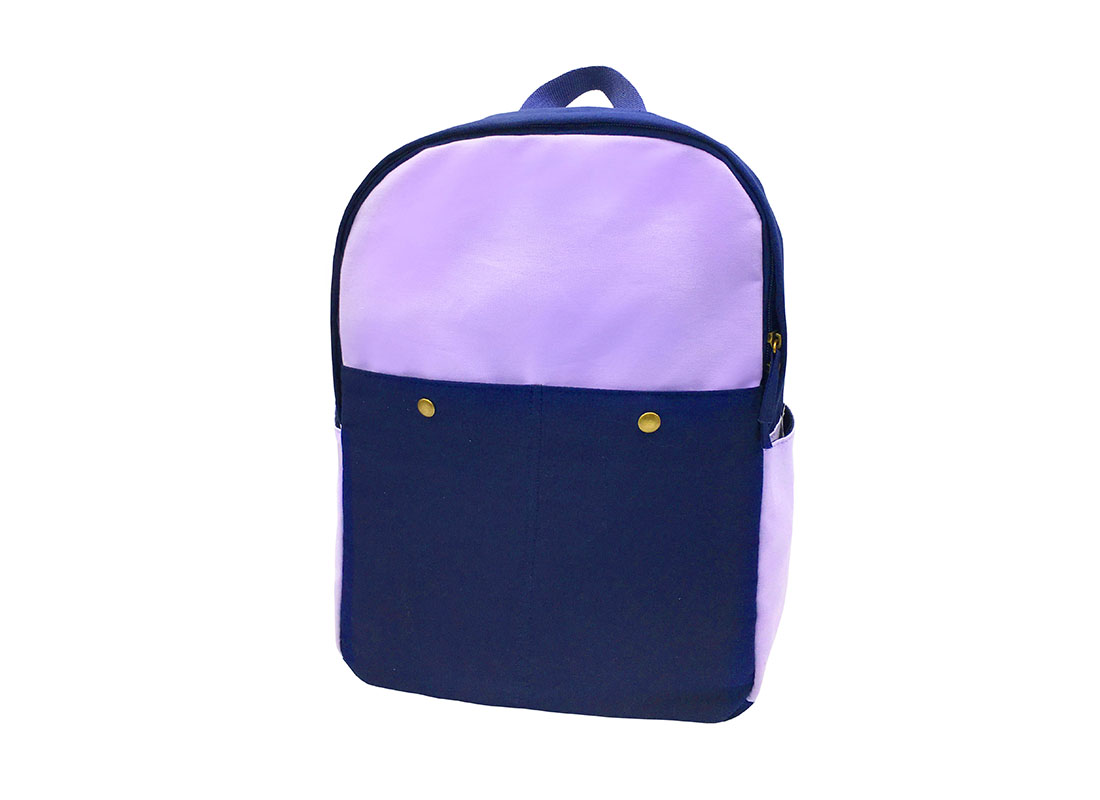 canvas backpack in purple & blue side